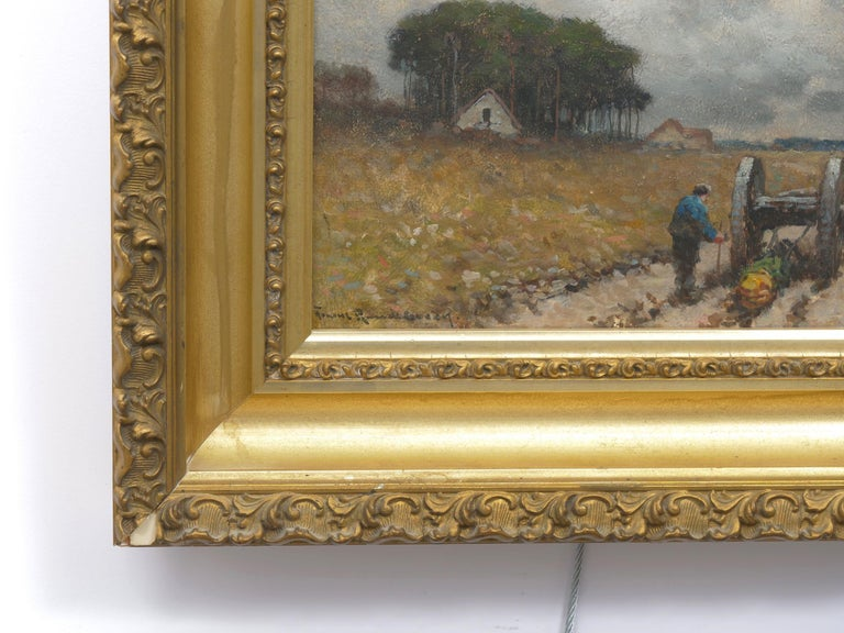 """Oiled """"Men Hauling Logs"""" Antique American Barbizon Oil Painting by Frank Russell Green For Sale"""