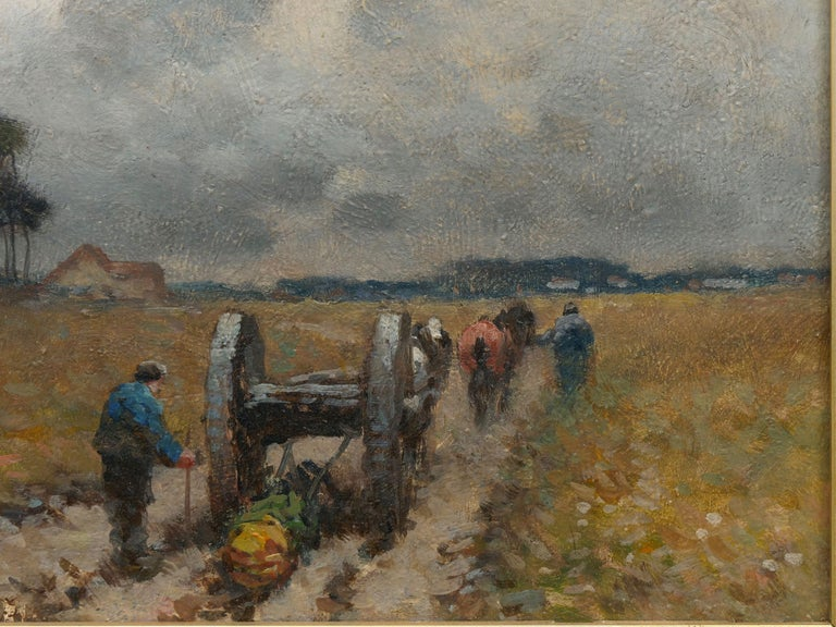 """""""Men Hauling Logs"""" Antique American Barbizon Oil Painting by Frank Russell Green For Sale 1"""