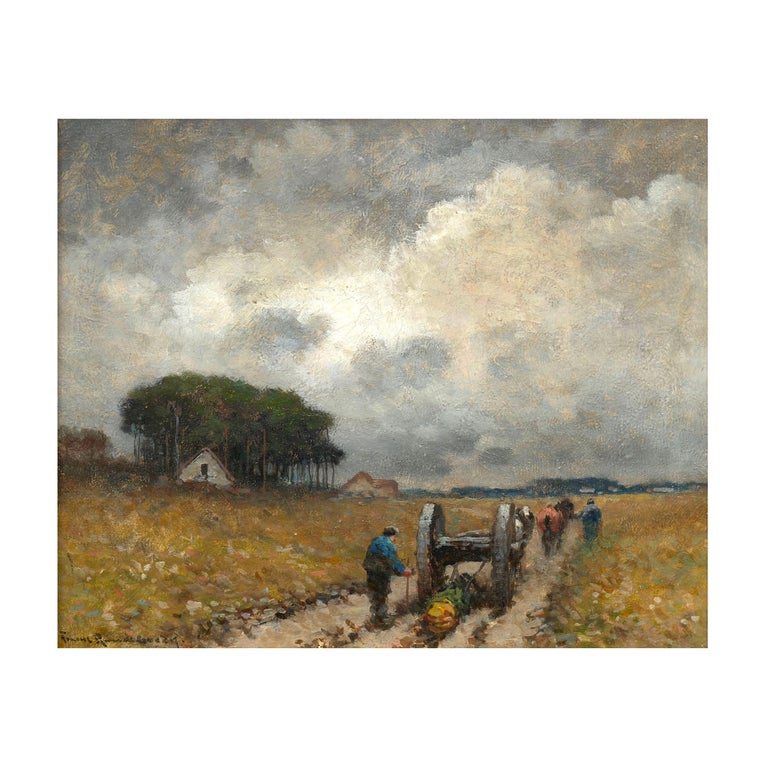 """""""Men Hauling Logs"""" Antique American Barbizon Oil Painting by Frank Russell Green For Sale"""