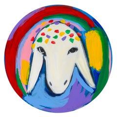 Meanshe Kadishman, Sheep head 21, circular painting,  Acrylic on canvas