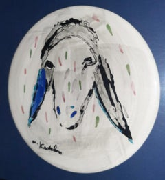 "Menashe Kadishman, ""Round Color Sheep"" hand signed Oil on ceramic plate"
