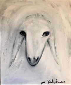 Menashe Kadishman, Sheep head 15 , Acrylic and sand on canvas
