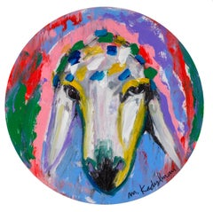 Menashe Kadishman, Sheep head 20, circle painting, Acrylic on canvas