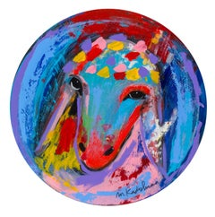 Menashe Kadishman, Sheep head 26 circle painting, Acrylic on canvas