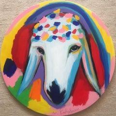 Menashe Kadishman, Sheep head, Acrylic on canvas, circle painting