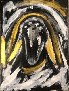 Menashe Kadishman, Sheep head, Acrylic on canvas