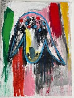 Menashe Kadishman, Sheep head, Trouble, Acrylic on canvas
