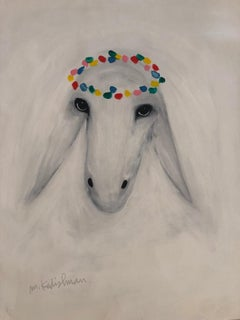 Menashe Kadishman, Sheep head, Circle crown, Acrylic on canvas
