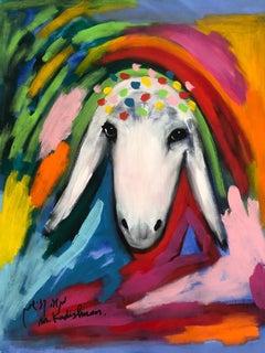 Menashe Kadishman, Sheep head, Crown, Acrylic on canvas