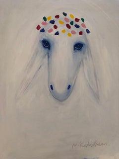 Menashe Kadishman, Sheep head, Large crown, acrylic on canvas