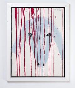 Menashe Kadishman, Sheep head, Sacrifice, symbolist  work, Acrylic on canvas