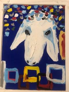 Menashe Kadishman, Sheep head, Symbolist work, Acrylic on canvas