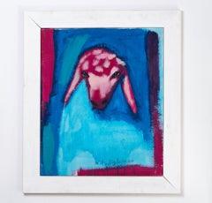 Menashe Kadishman, Sheep Head, turquoise, Symbolic work,  Acrylic on canvas