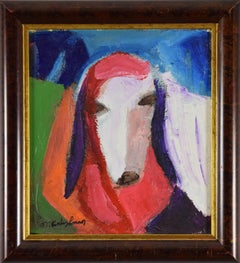Sheep by Menashe Kadishman - Colourful animal painting, oil on canvas