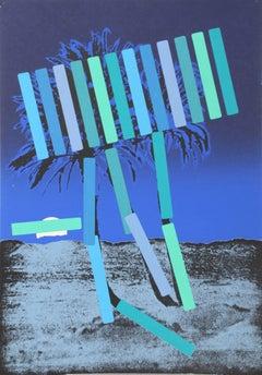"""Blue Palm"" Screenprint by Menashe Kadishman"