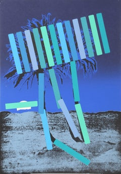 Blue Palm, Screenprint by Menashe Kadishman