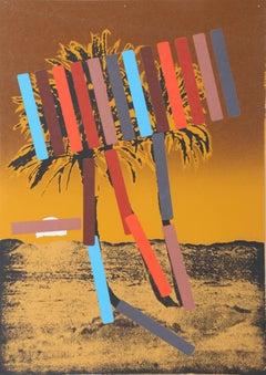 """Brown Palm"" Screenprint by Menashe Kadishman"