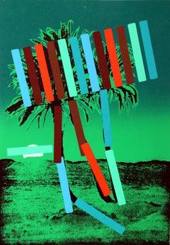 """Green Palm"" Serigraph by Menashe Kadishman"