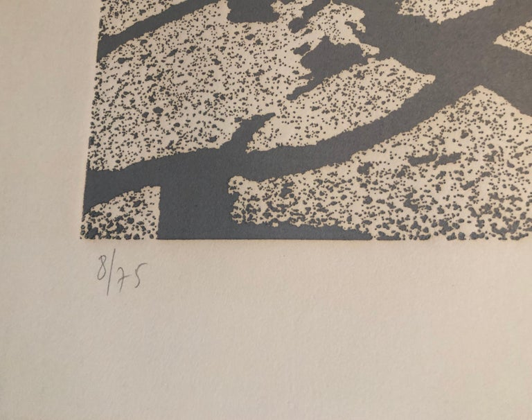 Israeli Modern Pop Art Aquatint Etching Cracked Earth Art Kadishman Lithograph - Brown Landscape Print by Menashe Kadishman