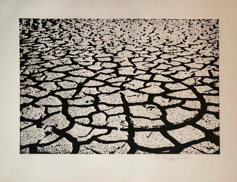 Menashe Kadishman Landscape Print - Israeli Modern Pop Art Aquatint Etching Cracked Earth Art Kadishman Lithograph