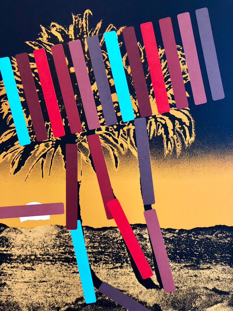 Israeli Modern Pop Art Photo Silkscreen Serigraph Palm Trees Kadishman - Print by Menashe Kadishman