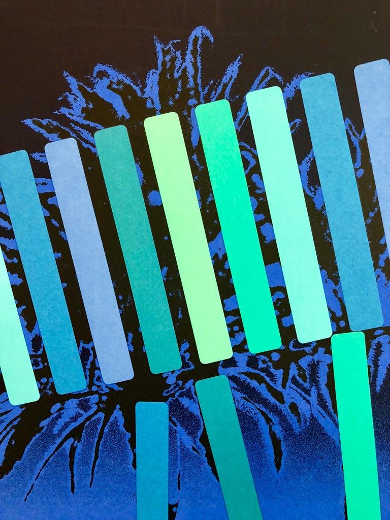 Israeli Modern Pop Art Photo Silkscreen Serigraph Palm Trees Kadishman - Abstract Geometric Print by Menashe Kadishman