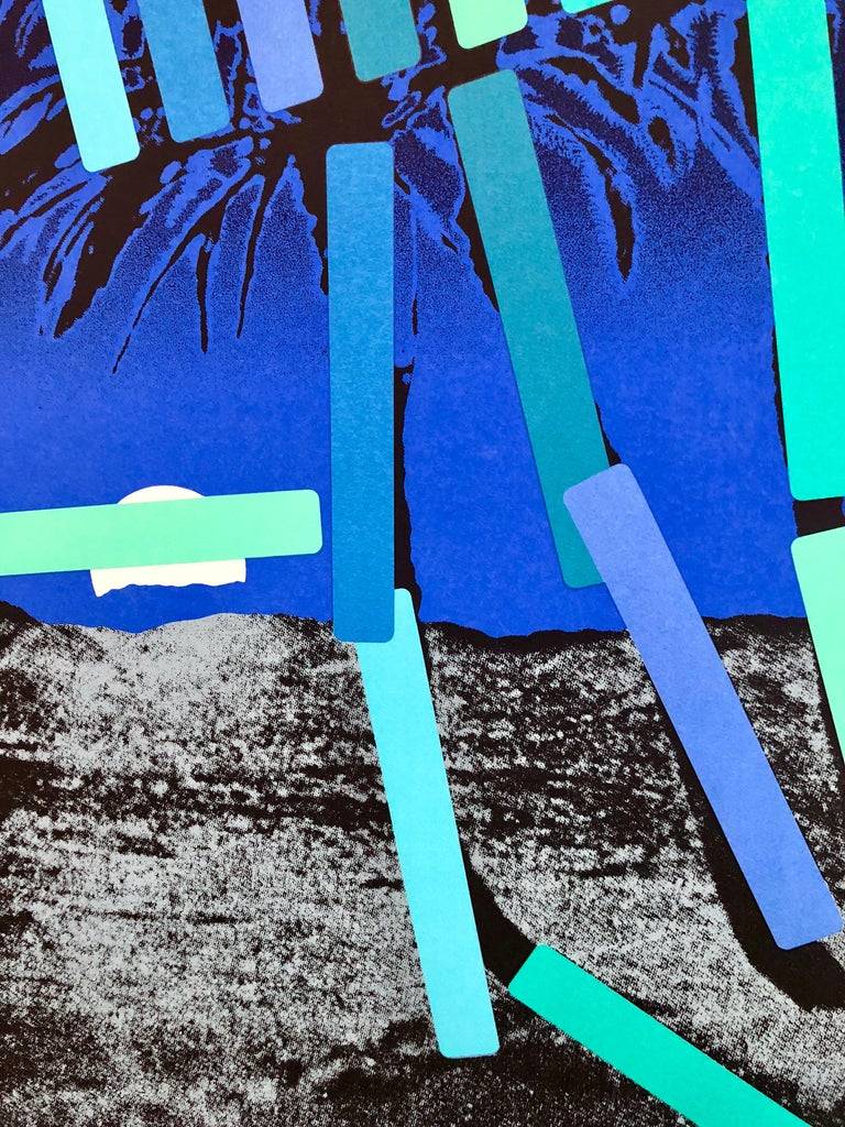 Israeli Modern Pop Art Photo Silkscreen Serigraph Palm Trees Kadishman - Purple Landscape Print by Menashe Kadishman