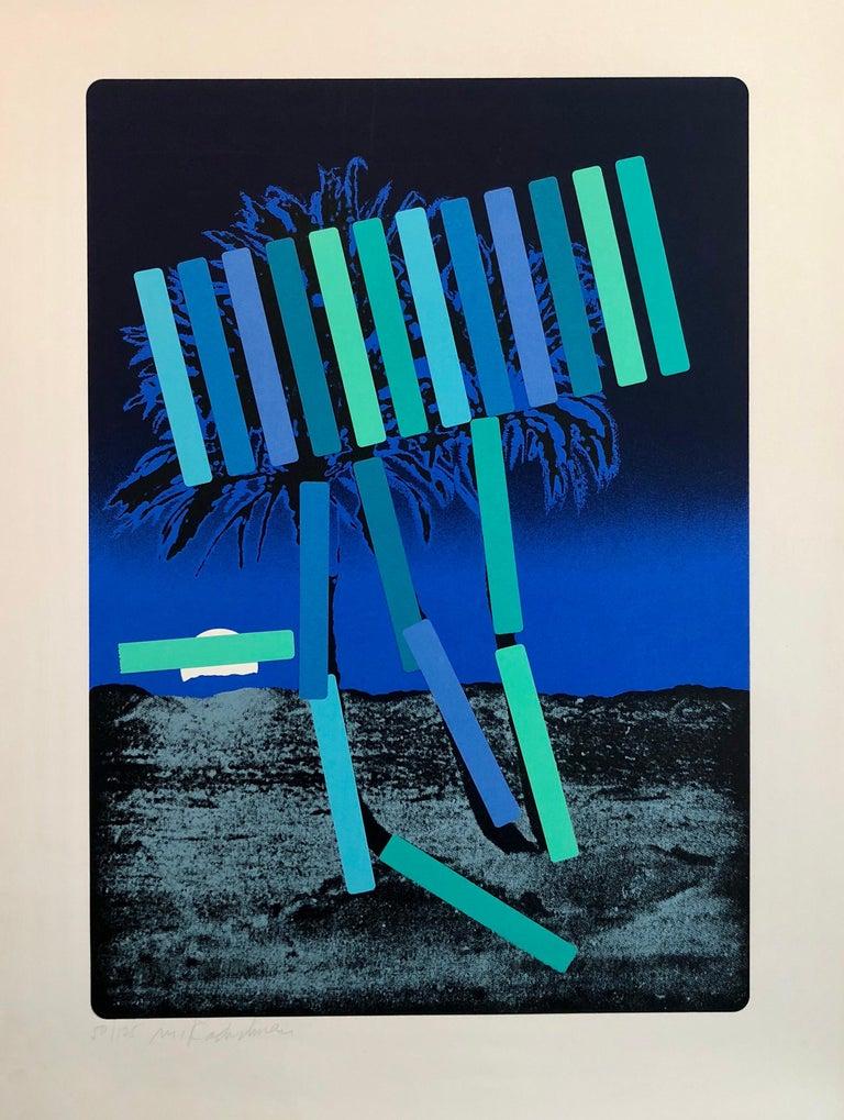 Menashe Kadishman Abstract Print - Israeli Modern Pop Art Photo Silkscreen Serigraph Palm Trees Kadishman