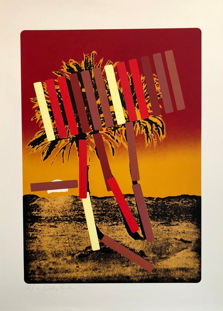 Menashe Kadishman Landscape Print - Israeli Modern Pop Art Photo Silkscreen Serigraph Palm Trees Kadishman