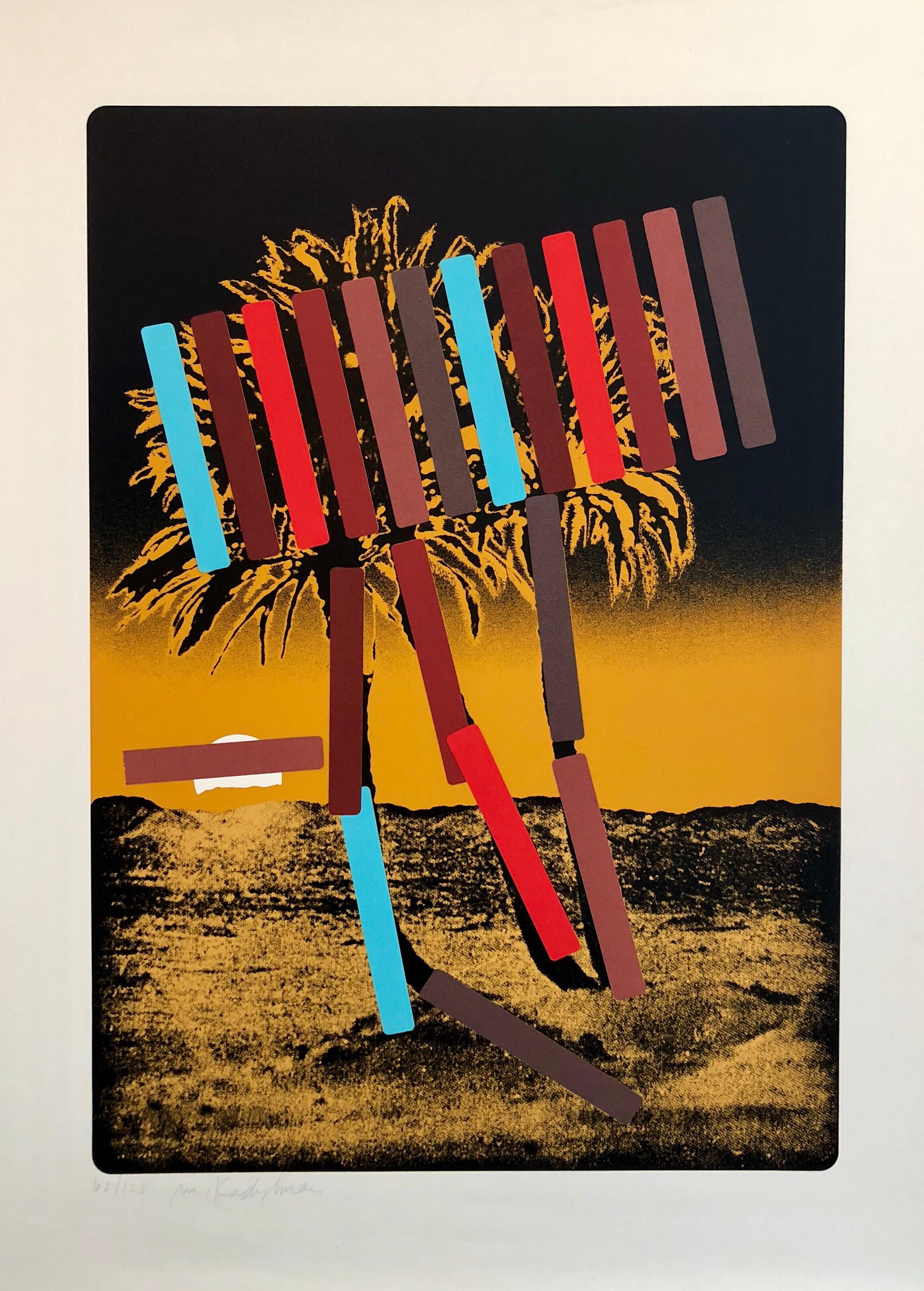 Israeli Modern Pop Art Photo Silkscreen Serigraph Palm Trees Kadishman
