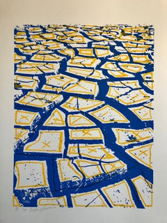Israeli Modernist Silkscreen Print Cracked Earth Art Kadishman Lithograph