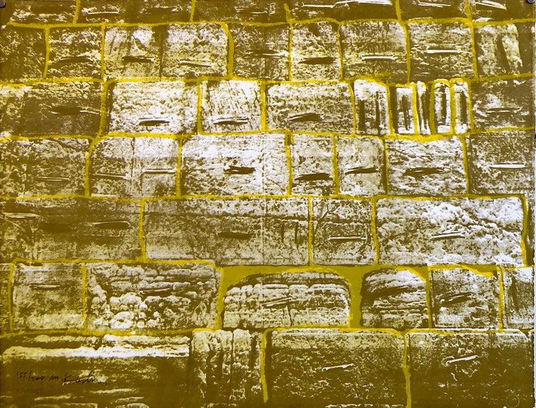 Israeli Modernist Silkscreen Print Kotel Wall Jerusalem Kadishman Lithograph - Brown Abstract Print by Menashe Kadishman