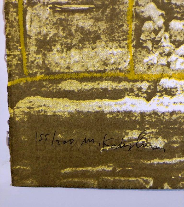 Israeli Modernist Silkscreen Print Kotel Wall Jerusalem Kadishman Lithograph For Sale 1