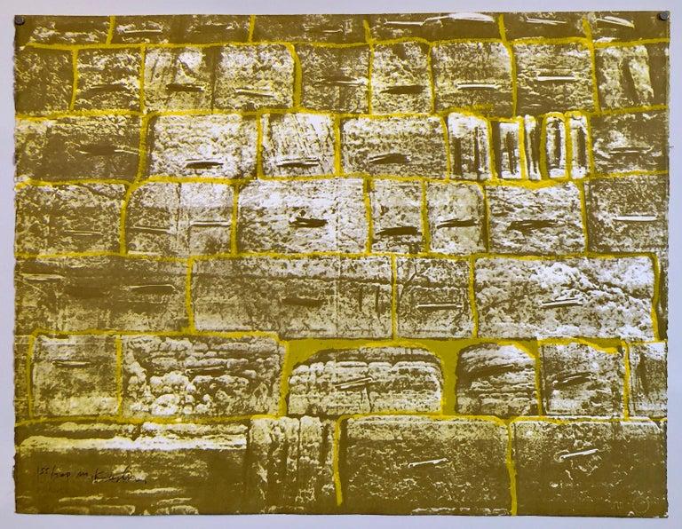 Menashe Kadishman Abstract Print - Israeli Modernist Silkscreen Print Kotel Wall Jerusalem Kadishman Lithograph