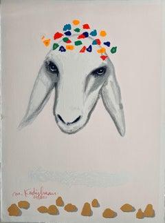 "Kadishman Israeli Colorful Pop Art Screen Print Lithograph ""Sheep Head"" Judaica"