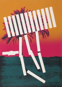 """Pink Palm"" Serigraph by Menashe Kadishman"