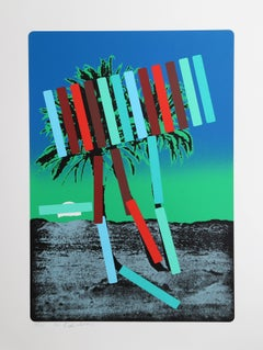 Teal and Red Palm Trees
