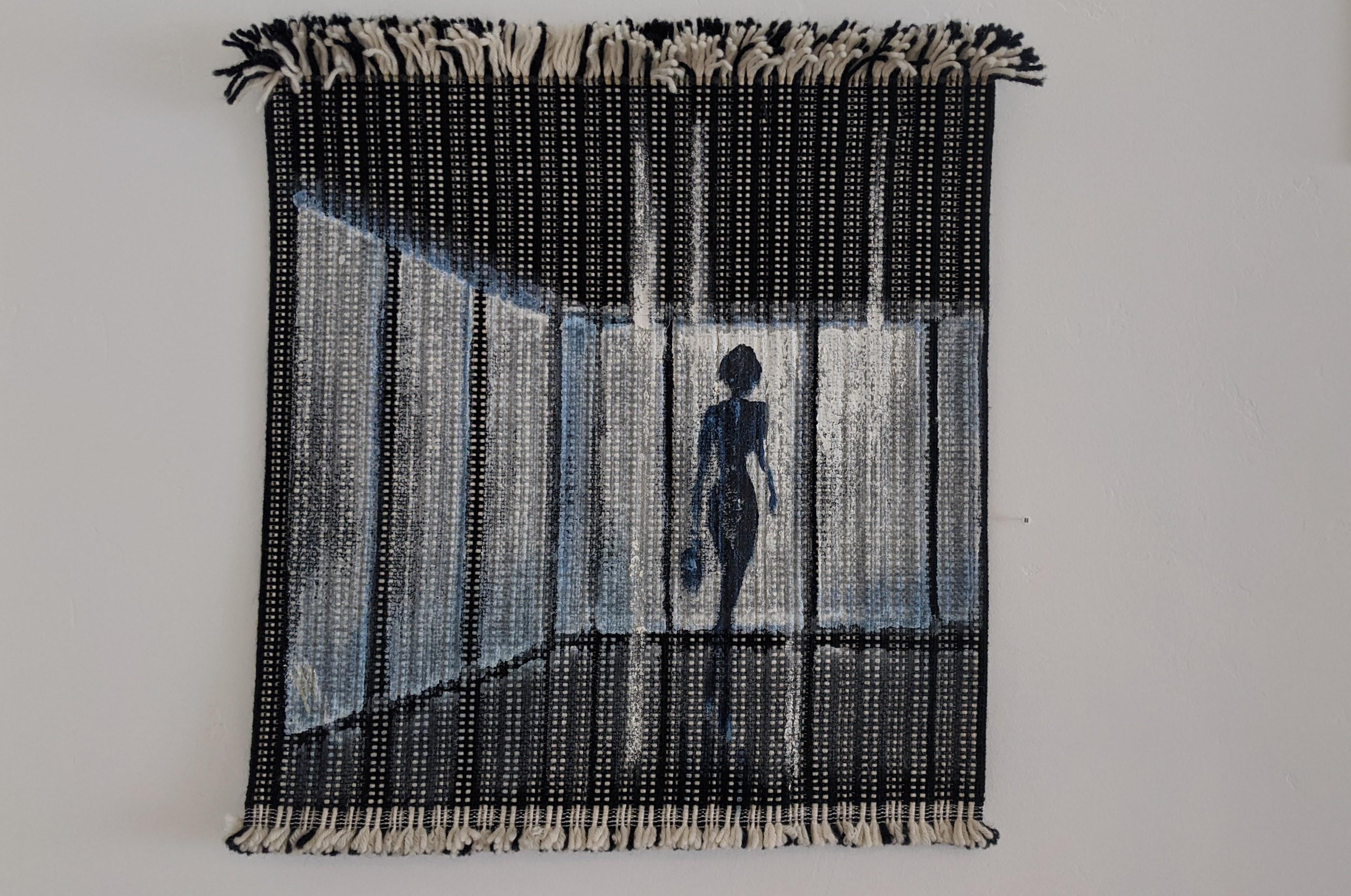 Oil Painting, Wool Canvas, Blue, Hand Woven Textile Series III by Mendel Samayoa