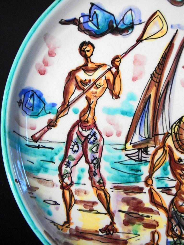 "Mid-Century Modern ""Mending Nets Beachside,"" Rare Midcentury Plate, Società Anonima Marina, Italy For Sale"