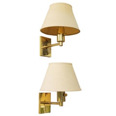 Mendizabal Argentinian Modern Wall Sconces in Gold-Tone with Shades