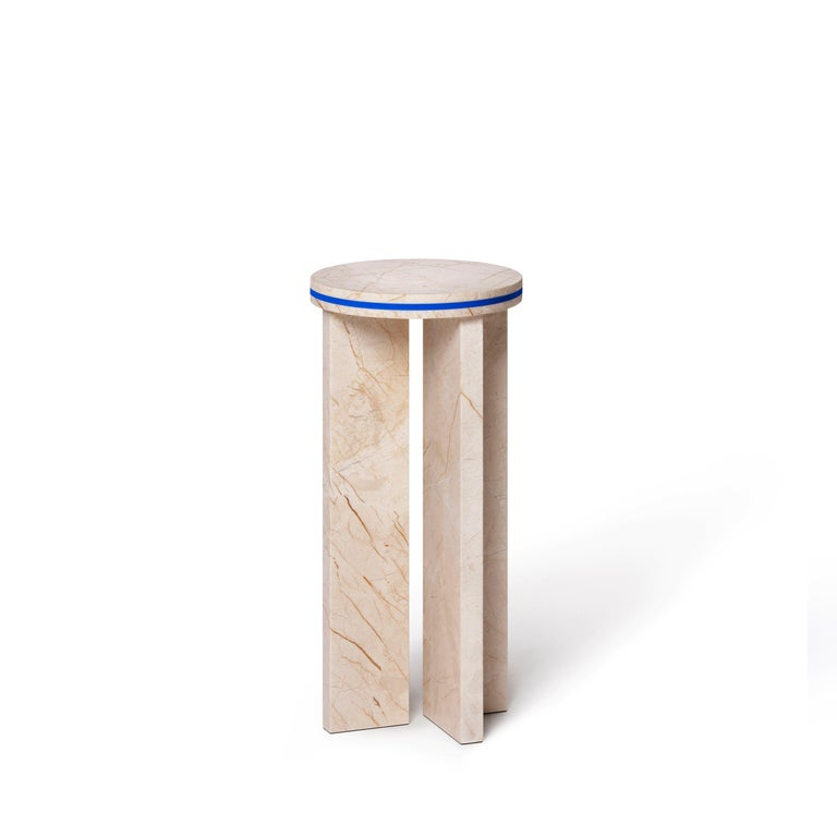 BUZAO released the 2020 new collection, DISLOCATION, which consisted of a round marble coffee table and two marble side tables. The usage of blue industrial materials dislocates the marble's natural texture. The collection comes in Menes Gold and