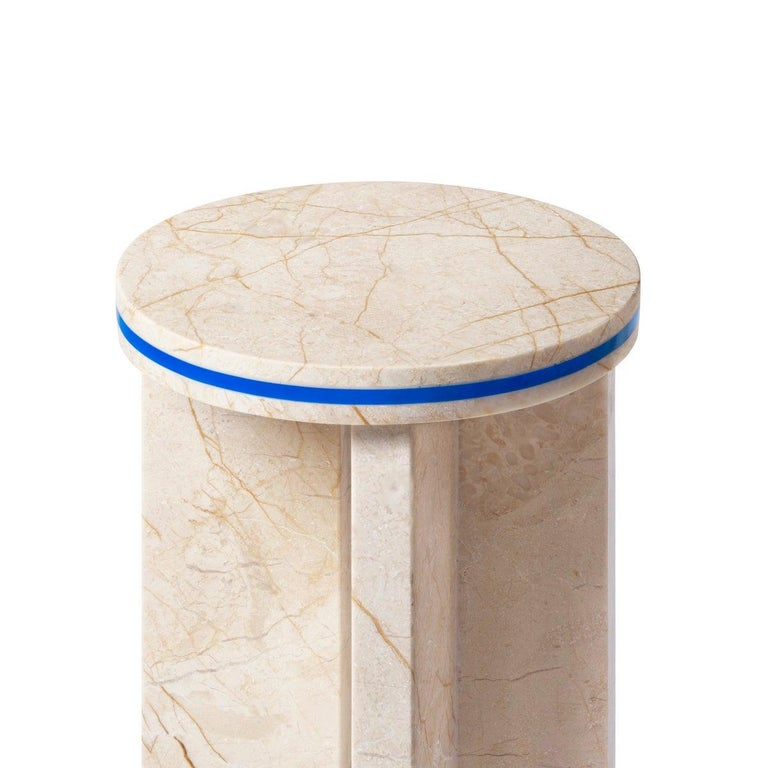 Menes Gold Marble Round Side Table from Dislocation by Studio Buzao For Sale 1