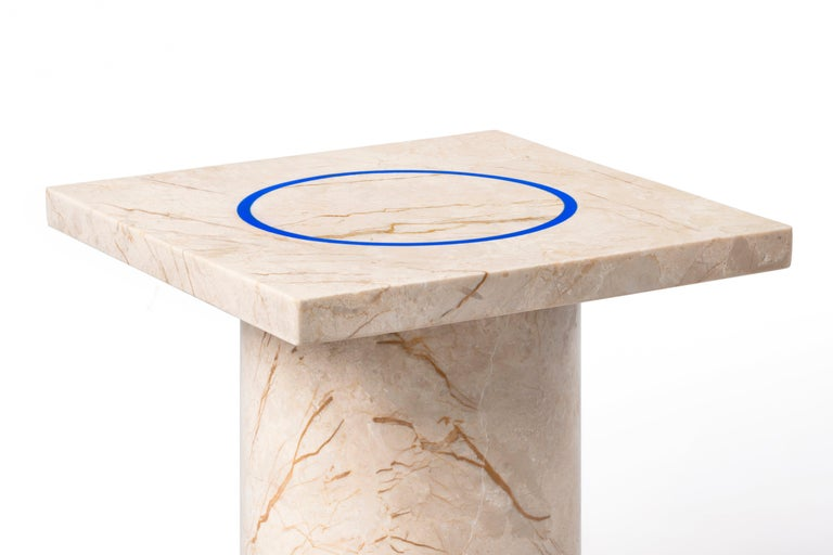 Marble Menes Gold Square Side Table from Dislocation by Studio Buzao For Sale
