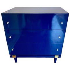 Mengel Blue Lacquered Raymond Loewy Designed Chest of Drawers Dresser Commode