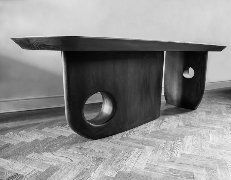 Ash Hand finished - Menhir Sculptural Dining Table Designed by Toad Gallery London For Sale