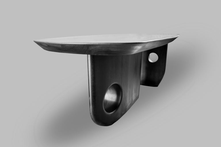 Hand-Carved Organic Bespoke Menhir Dining Table in Solid Ash Designed by Toad Gallery London For Sale