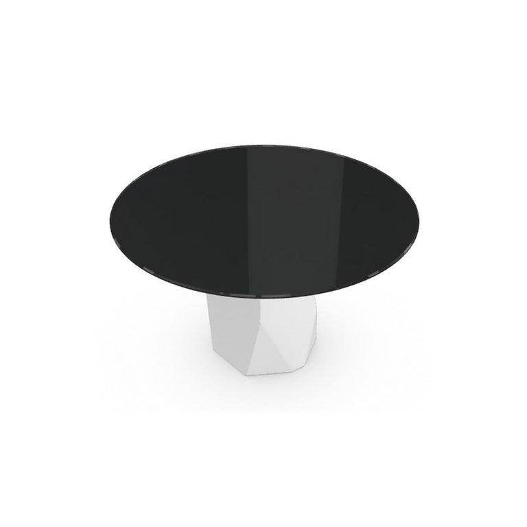 Modern Menhir, Dining Table with Round Black Glass Top on Metal Base, Made in Italy For Sale