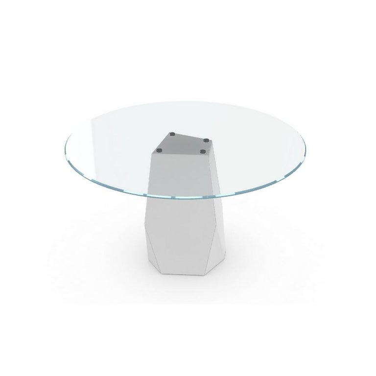 Modern Menhir, Dining Table with Round Clear Glass Top on Metal Base, Made in Italy For Sale