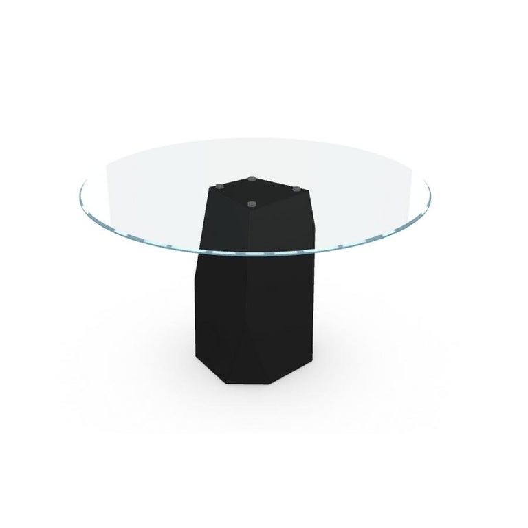 Modern Menhir, Dining Table with Round Glass Top on Metal Base, Made in Italy For Sale