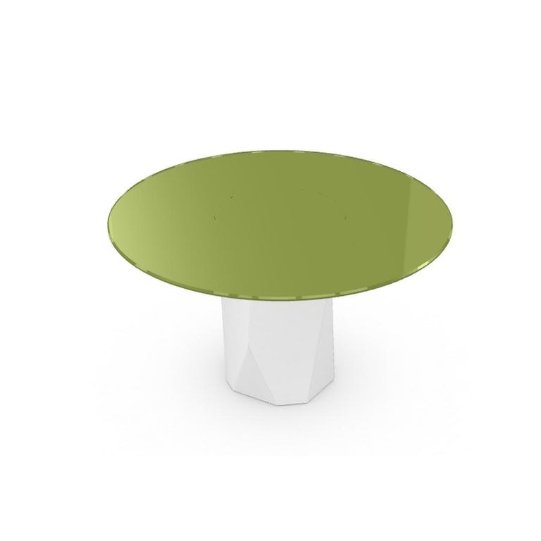 Modern Menhir, Dining Table with Round Green Glass Top on Metal Base, Made in Italy For Sale